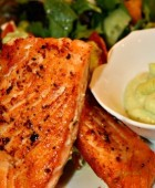 Pan Seared Salmon with Tangy Avocado Sauce