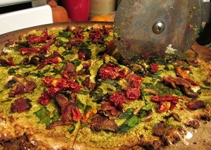 Grain Free Bacon Pesto Pizza with Cauliflour Crust